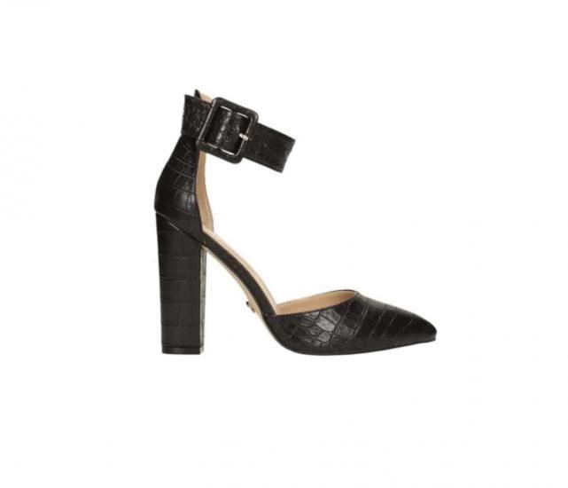 Tata scarpa nera decollete effetto pelle con laccio caviglia elegante